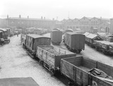 """Goods depot at Birkenhead Docks, Merseyside, c 1924."""
