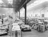 """Warehouse at Oldham Road goods depot, Manchester, 1924."""
