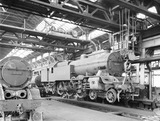 """Locomotives in Horwich works erecting shop, Lancashire, 10 August 1926."""