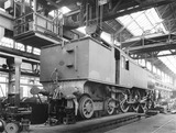 """Locomotive in Horwich works erecting shop, Lancashire, 10 August 1926."""