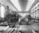 """Erecting shop at Horwich works, Lancashire, c 1890."""