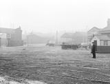 """Goods yard at Birkenhead Docks, Merseyside, 6 December 1929."""
