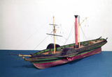Model of an early coastal paddle steamer, c 1825.