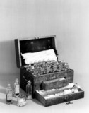 Faraday's chemical chest, c 1800s.