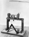 Wooden pole lathe, c. 1800.