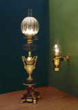Two domestic paraffin lamps, c 1860-1910.