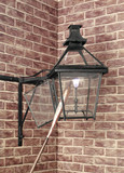 Square street gas lantern with cradle bracket arm, c 1810-1860.