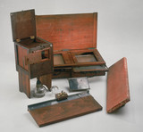 A daguerreotypist's equipment, c 1840.