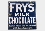 Sign advertising 'Fry's Milk Chocolate', c 1920.