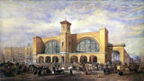 Queen Victoria arriving at King's Cros Station to travel to York Races, 1853.