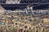 'Waterloo Station', watercolour for an SR poster, 1948.