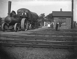 Traction engine on level crossing at Peterborough, c1911.