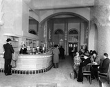 Commuters in the cafe at St Pancras Station, c.1940.