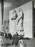 The Islanders' by Siegfried Charoux. Huge stone relief might be read as a symbol of the struggle and resilience of the British people. Sea and Ships Pavilion, Festival of Britain. 26 May 1951