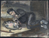 Oil painting of a man smoking an opium pipe, Europe