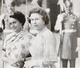 Black and white photograph of the Queen and Mrs Gandhi on the Royal Tour of India in November 1983.