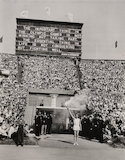 Torch-bearer arrives at opening ceremony, Olympic Games, London, 1948