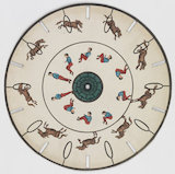 Phenakistoscope disc: horse jumping through a hoop and a man somersaulting