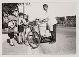 Icecream seller on bicycle, c 1925