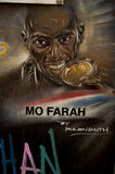 Graffiti portrait in East London of Mo Farah by Paul Don Smith