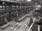 Works photographic negative of interior view of the press bay and middle bay of the boiler shop, 1959.