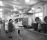 Works photographic negative of Beyer, Peacock works kitchen with kitchen staff, 1945.