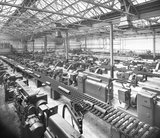 Works photographic negative of interior view of the shell shop showing the new machines