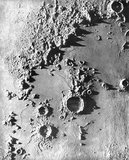 Plaster model, in relief of a portion of the moon's surface.