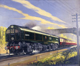 Leader class locomotive number 36001 hauling a train. Oil painting by Leslie Carr.