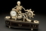 Alarm clock, mounted on model of coffin, probably English, 1840-1900