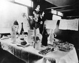 Table in a LNER dining car, c 1930s.