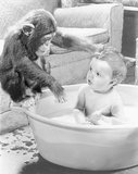 Chimp helping with boy's bath