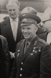Yuri Gagarin (1934-1968) the Russian Soviet pilot and cosmonaut with interpreter translator Boris Belitsky at London airport, 11th July 1961.