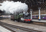 Flying Scotsman locomotive leaving the National Railway Museum, 2016.