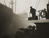 Fog scene in Manchester docks, 24 November 1936