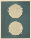 Lithographic colour print issued by Harvard College Observatory in 1876, showing the solar photosphere, the visible surface of the Sun.
