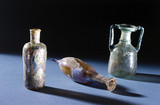Roman glas bottles, 3rd to 5th century AD.