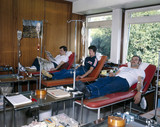 Blood donors at the North London Blood Transfusion Centre, 1980.