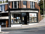 Exterior view of H A Noble's chemist shop, South Croydon, London, c 1970s.