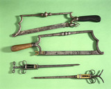 Amputation saws and bullet extractors, 16th-18th century.