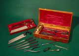 Surgical instrument set, c 1855.