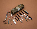 Surgical instrument case and instruments, English, 1650-1700.