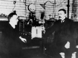 Sir Ernest Rutherford and Hans Geiger, physicists, 1912.