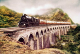 Steam locomotive crosing a viaduct, India, c 1930s.