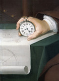 John Harrison with his marine chronometer, c 1767.