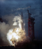 Rocket exploding on launch pad, early 1960s.