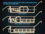 Spacelab flight configurations in the cargo bay of the Space Shuttle, 1980s.