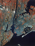 Landsat image of Manhattan, New York City, United States, 1980s.