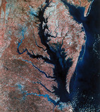 Landsat image of Chesapeake Bay, United States, 1980s.