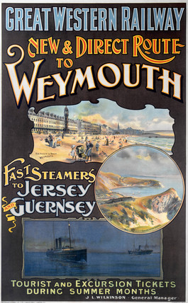 'New & Direct Route to Weymouth', GWR poster, 1923-1947.